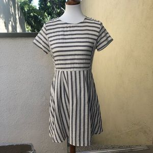 Anthropologie Dresses - ETWO Gray and Ivory Striped Dress Size Small